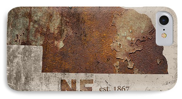 Nebraska State Map Industrial Rusted Metal On Cement Wall With Founding Date Series 039 IPhone Case
