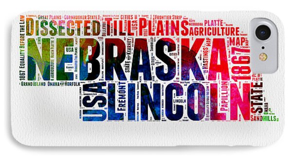 Nebraska Watercolor Word Cloud  IPhone Case by Naxart Studio