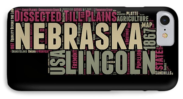 Nebraska Word Cloud 1 IPhone Case by Naxart Studio