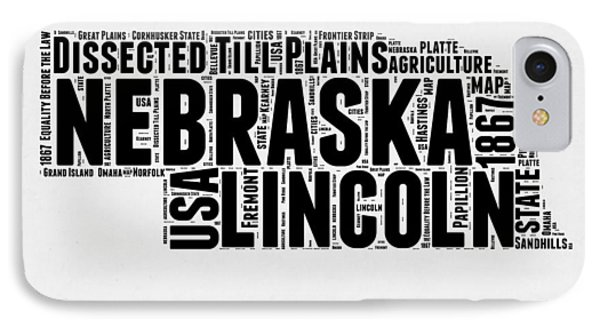 Nebraska Word Cloud 2 IPhone Case by Naxart Studio