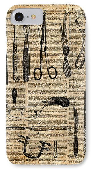 Necropsy Kits,anatomy Medical Instruments,surgery Decoration,dictionary Art,vintage Book Pag IPhone Case by Jacob Kuch