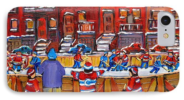 Neighborhood  Hockey Rink IPhone Case by Carole Spandau