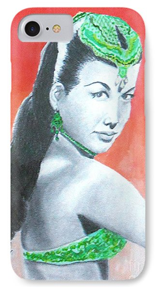 Nejla -- Retro Portrait Of Turkish Celebrity IPhone Case by Jayne Somogy