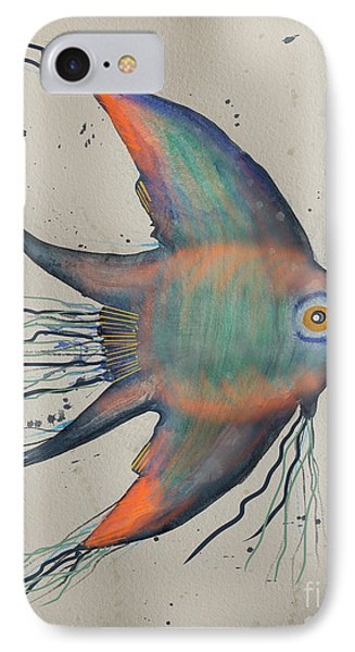 IPhone Case featuring the mixed media Neon Blue Fish by Walt Foegelle