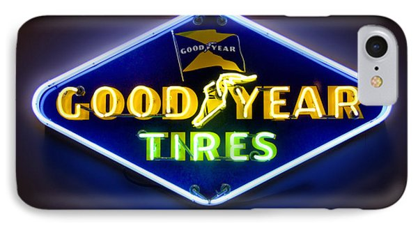 Neon Goodyear Tires Sign Phone Case by Mike McGlothlen