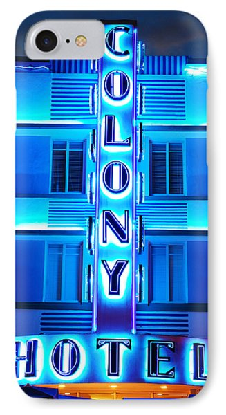Neon Lights Of The Colony Hotel, Miami Beach IPhone Case by James Kirkikis