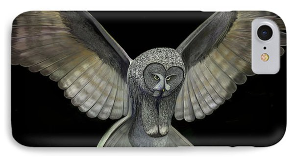 IPhone Case featuring the digital art Neon Owl by Rand Herron
