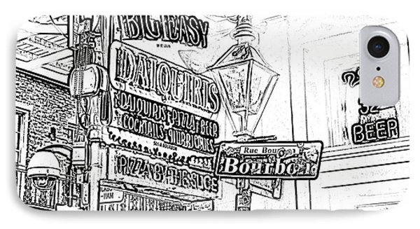Neon Sign On Bourbon Street Corner French Quarter New Orleans Black And White Photocopy Digital Art Phone Case by Shawn O'Brien