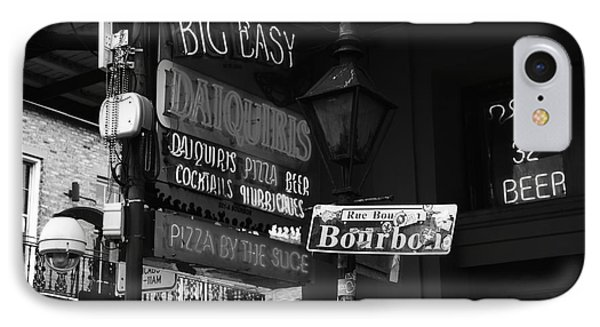 Neon Sign On Bourbon Street Corner French Quarter New Orleans Black And White IPhone Case