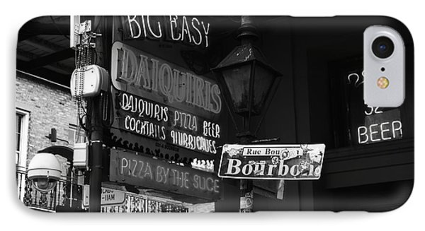 Neon Sign On Bourbon Street Corner French Quarter New Orleans Black And White IPhone Case by Shawn O'Brien