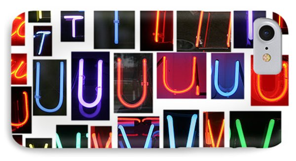 neon sign series letters S through V Phone Case by Michael Ledray