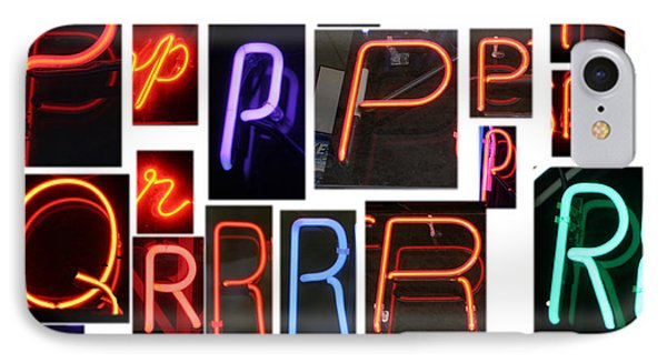 neon sign series O through R Phone Case by Michael Ledray