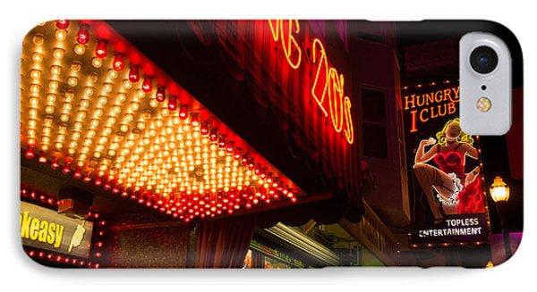 IPhone Case featuring the photograph Neon Signs At Night In North Beach San Francisco With Light Bulb Awning by Jason Rosette