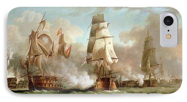 Neptune Engaged At The Battle Of Trafalgar IPhone Case by J Francis Sartorius