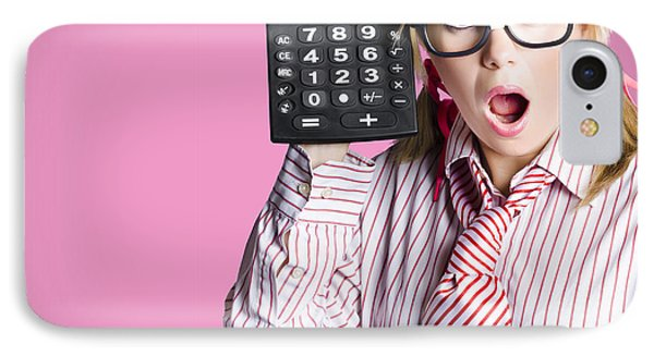 Nerdy Accounting Clerk Showing Tax Return Savings IPhone Case
