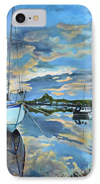 IPhone Case featuring the painting Nestled In For The Night At Mylor Bridge - Cornwall Uk - Sailboat  by Jan Dappen