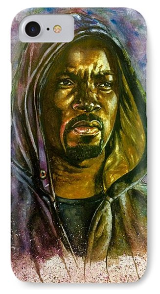 IPhone Case featuring the painting  Netflix Luke Cage by Darryl Matthews