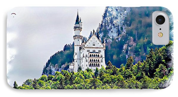 IPhone Case featuring the photograph Neuschwanstein Castle With A Glider by Joseph Hendrix