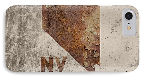Nevada State Map Industrial Rusted Metal On Cement Wall With Founding Date Series 044 IPhone Case