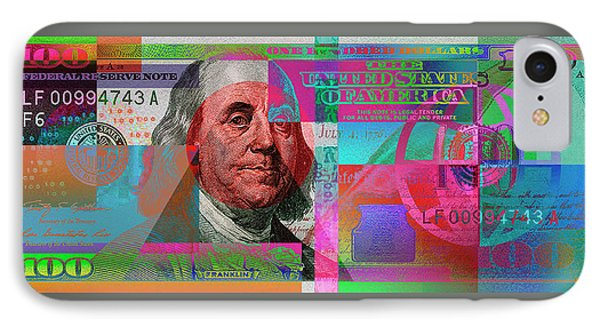 New 2009 Series Pop Art Colorized Us One Hundred Dollar Bill  No. 3 IPhone Case by Serge Averbukh