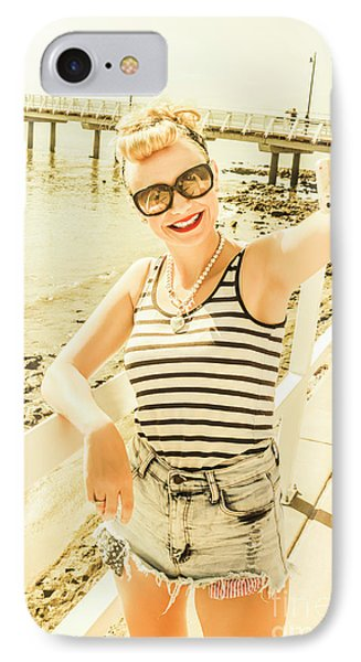 New Age Pin Up Taking Phone Selfie IPhone Case by Jorgo Photography - Wall Art Gallery