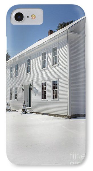 New England Colonial Home In Winter IPhone Case by Edward Fielding