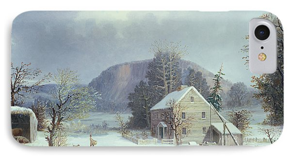 New England Farm By A Winter Road, 1854  IPhone Case by George Durrie