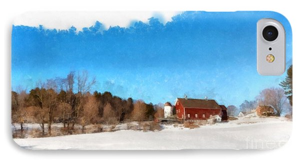 New England Farm Winter South Woodstock Vermont IPhone Case by Edward Fielding