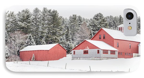 New England Farm With Red Barns In Winter IPhone Case