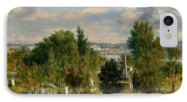 New England Landscape With Cemetery IPhone Case by George Loring Brown