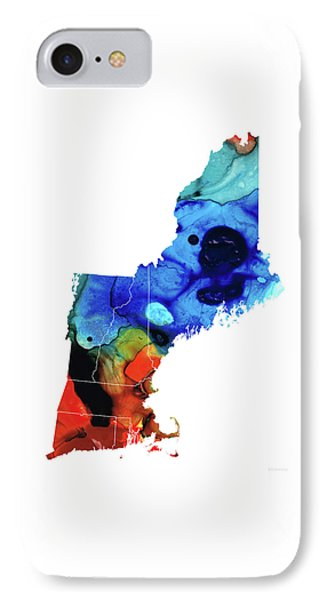 New England - Map By Sharon Cummings IPhone Case by Sharon Cummings