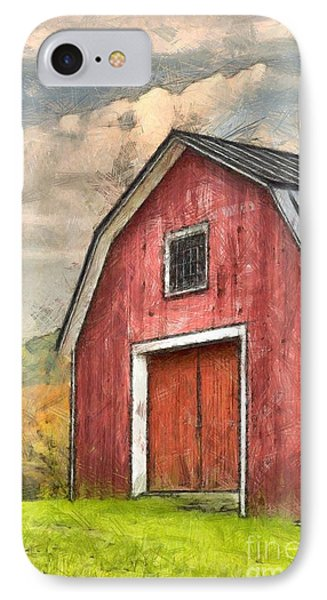New England Red Barn Pencil IPhone Case by Edward Fielding