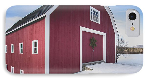 IPhone Case featuring the photograph New England Red Barn Winter Orford by Edward Fielding