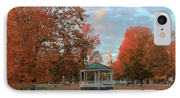 New England Town Common Autumn Morning IPhone Case by John Burk