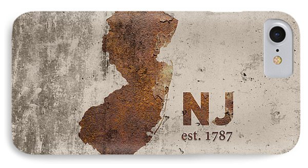 New Jersey State Map Industrial Rusted Metal On Cement Wall With Founding Date Series 026 IPhone Case