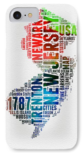 New Jersey Watercolor Word Cloud  IPhone Case by Naxart Studio