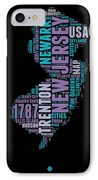 New Jersey Word Cloud 1 IPhone Case by Naxart Studio