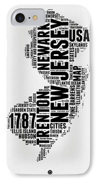 New Jersey Word Cloud 2 IPhone Case by Naxart Studio