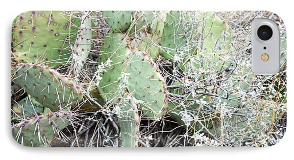 IPhone Case featuring the photograph New Mexico Green Prickly Pear Cactus by Andrea Hazel Ihlefeld
