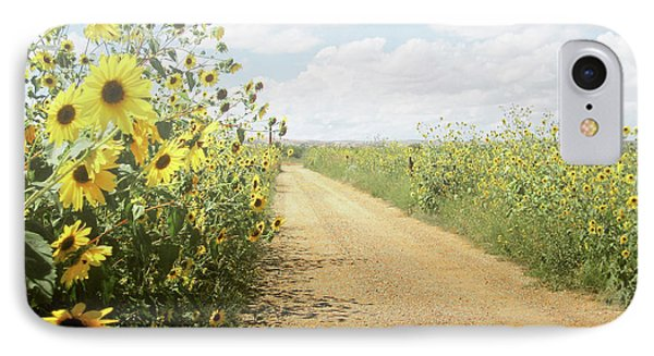 IPhone Case featuring the photograph New Mexico Sunflower Road by Andrea Hazel Ihlefeld
