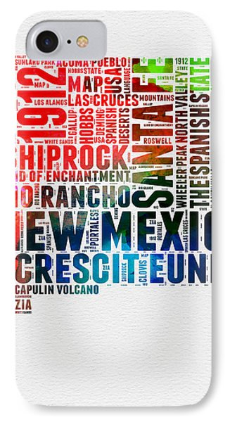 New Mexico Watercolor Word Map IPhone Case by Naxart Studio
