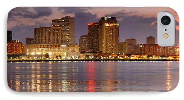 City Sunset iPhone 7 Case - New Orleans Skyline At Dusk by Jon Holiday
