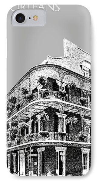 New Orleans Skyline French Quarter - Silver IPhone Case by DB Artist