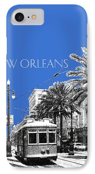 New Orleans Skyline Street Car - Blue IPhone Case by DB Artist