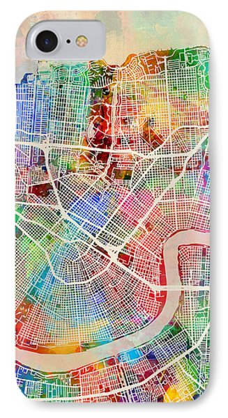 New Orleans Street Map IPhone Case by Michael Tompsett