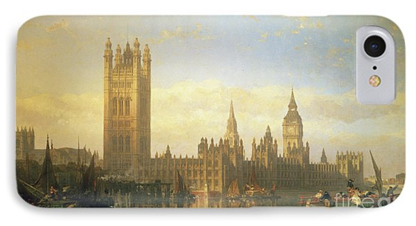 New Palace Of Westminster From The River Thames IPhone 7 Case by David Roberts