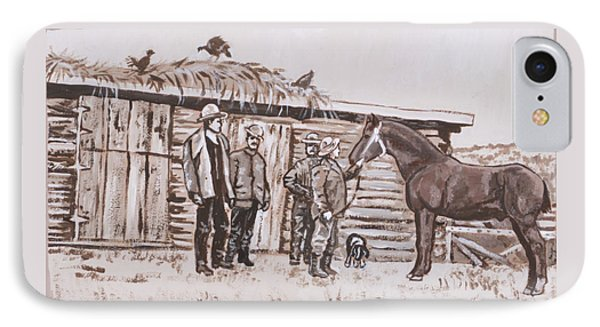 IPhone Case featuring the painting New Stallion At The Homestead Historical Vignette by Dawn Senior-Trask