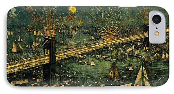 IPhone Case featuring the photograph New York And Brooklyn Bridge Opening Night Fireworks by John Stephens