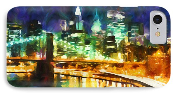 New York By Night Abstract Realism IPhone Case by Georgiana Romanovna