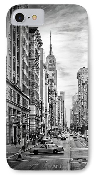 New York City 5th Avenue - Monochrome IPhone Case